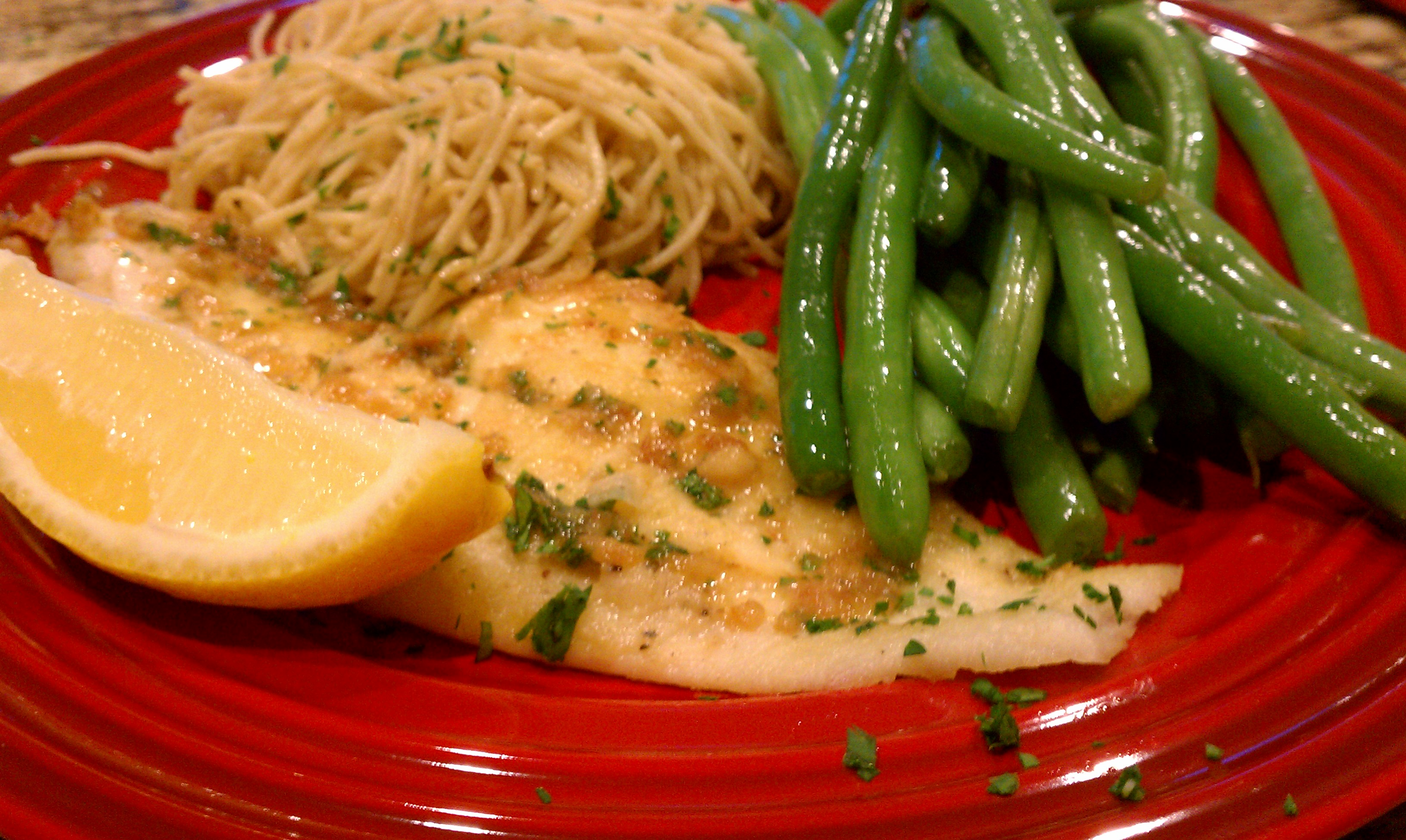Flounder Piccata with Angel Hair Pasta