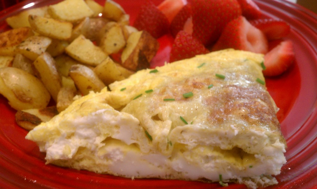Goat Cheese & Chive Omelette with Roasted Potatoes | my ...